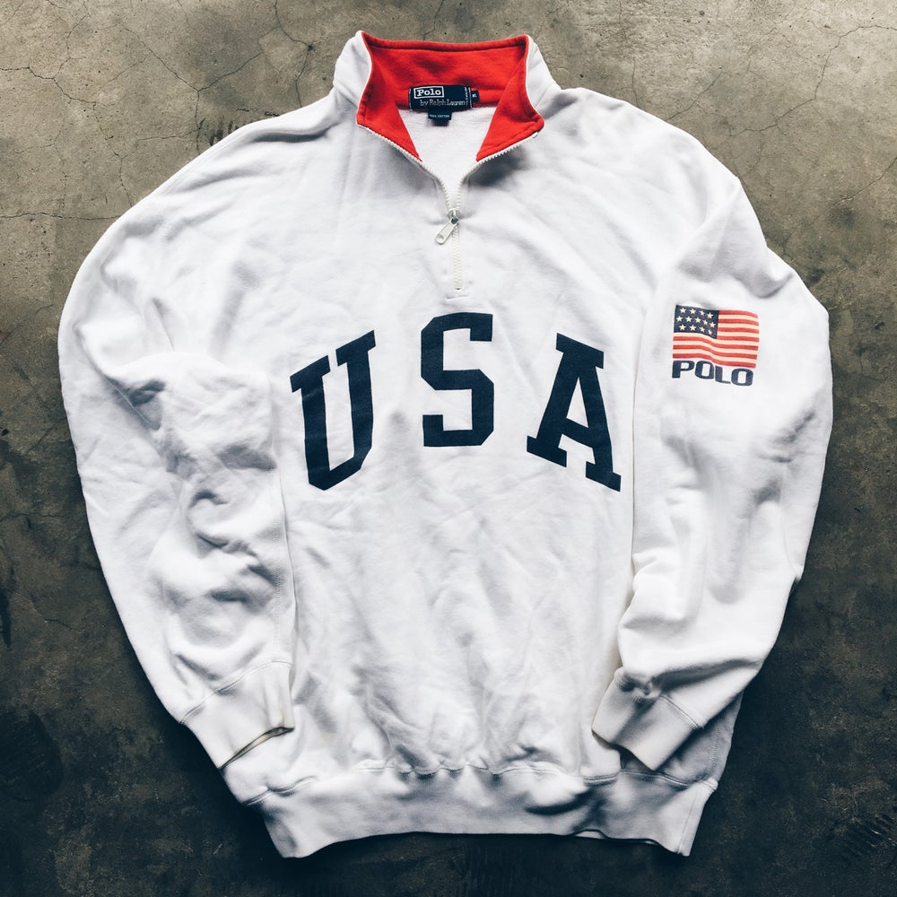 Image of Original 90's Polo Ralph Lauren USA Quarter-Zip Sweatshirt.