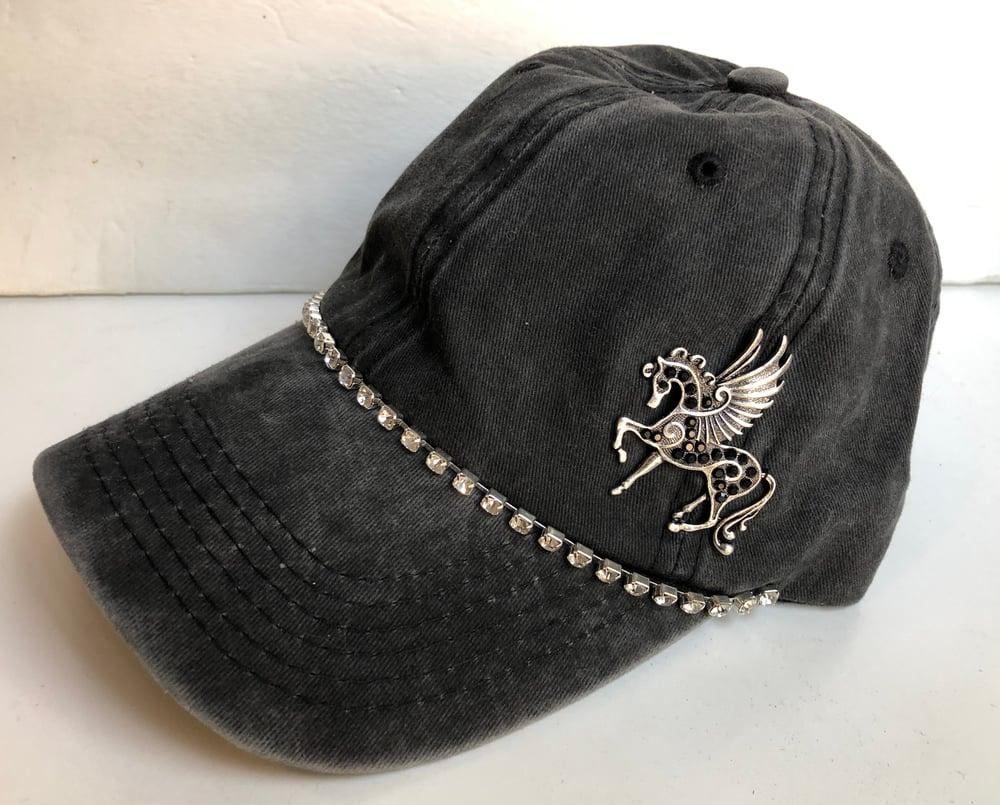 Baseball Hat with Crystal Black Pegasus