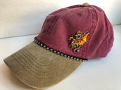 Image of Acid Washed Red and Khaki Baseball Hat with Dragon
