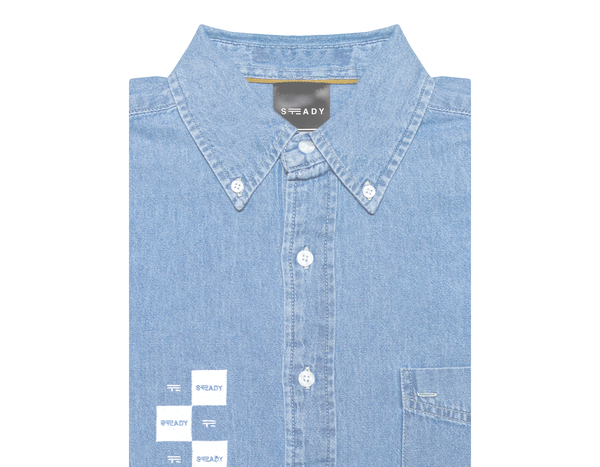 Image of CHECK LOGO DENIM SHIRT