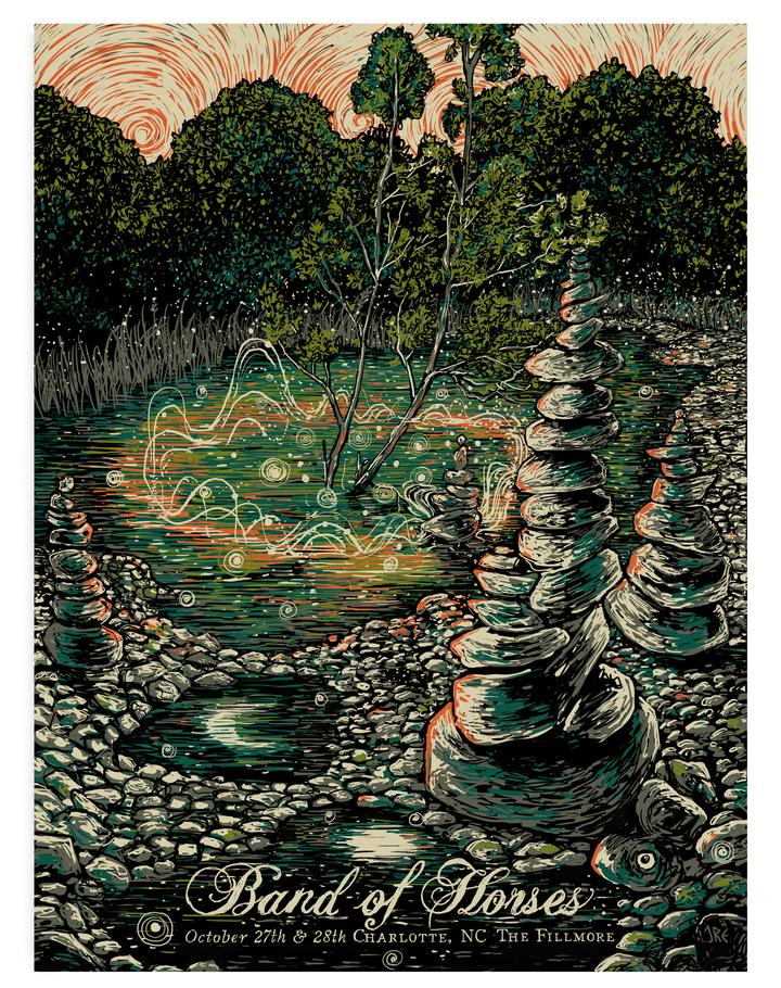 Image of BAND OF HORSES Charlotte, NC Screenprint Poster • Artist Proof Edition