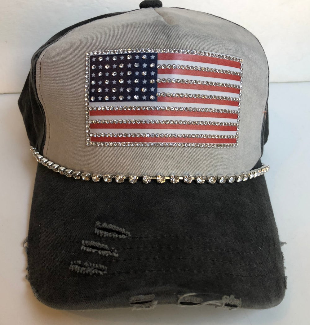 Acid Washed Charcoal  Baseball Hat with Crystal  America  Flag