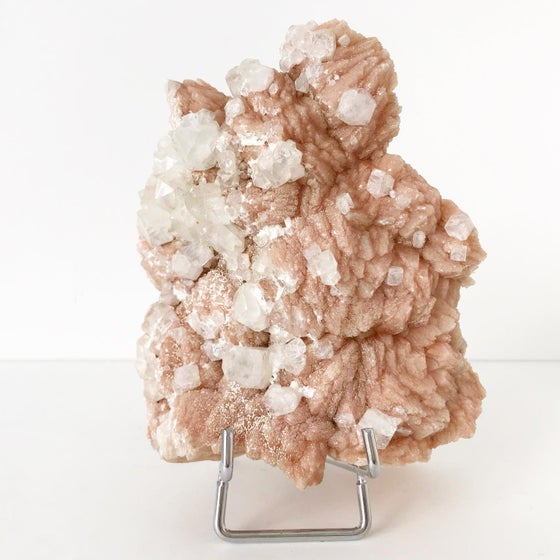 Image of Stilbite/Apophyllite no.04 + Silver Hued Easel Stand