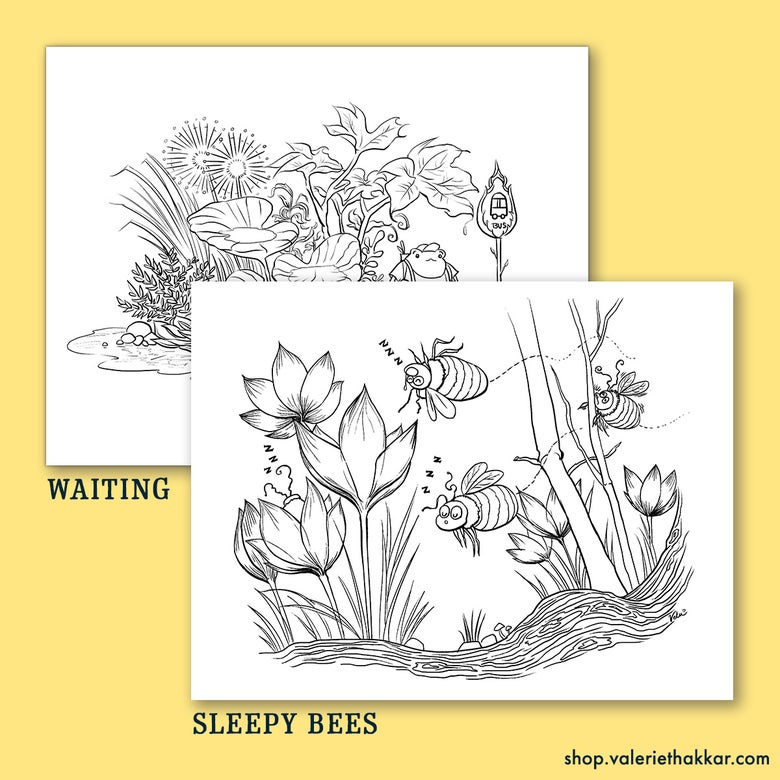 Image of Waiting + Sleepy Bees Coloring Pages - Downloadable