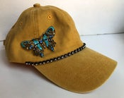 Image of Mustard Baseball Hat with Crystal Butterfly