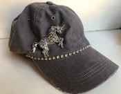 Image of Gray Baseball Hat with Opal Crystal Unicorn