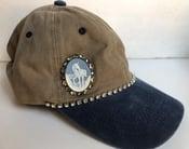 Image of Acid Blue/Khaki Baseball Hat with Mystical Unicorn