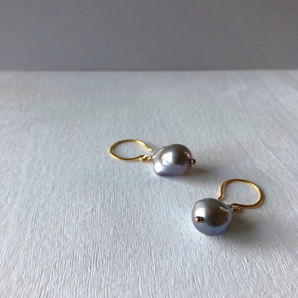 Image of Grey Baroque Pearl Earrings