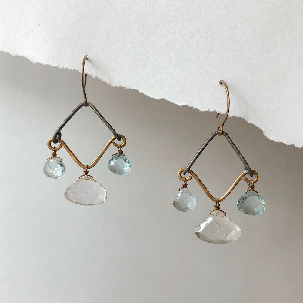 Image of Blue Topaz & Kunzite Chandelier Earrings