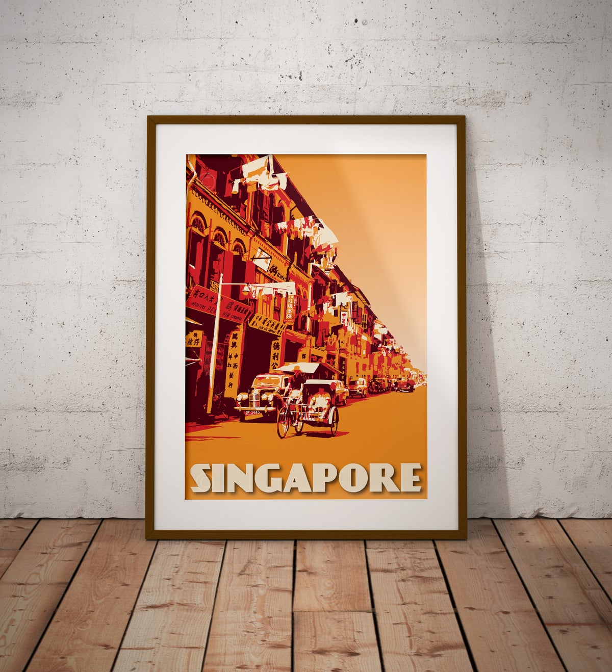 Image of Vintage Poster Singapore - Trishaw ride - Fine Art Print - Orange