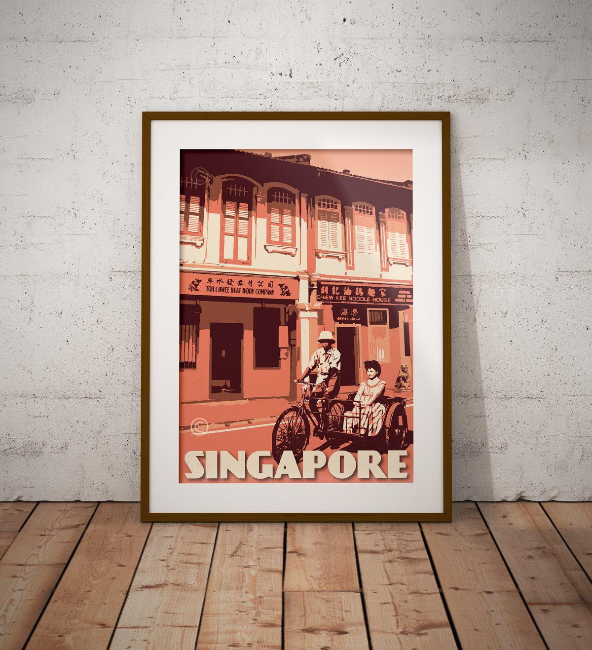 Image of Vintage Poster Singapore - Telok Ayer Trishaw ride - Fine Art Print