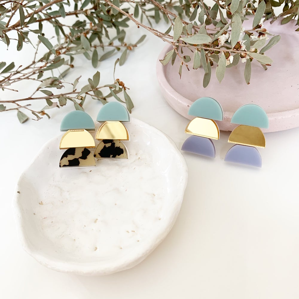 Image of Stacked Pastel Trio Studs