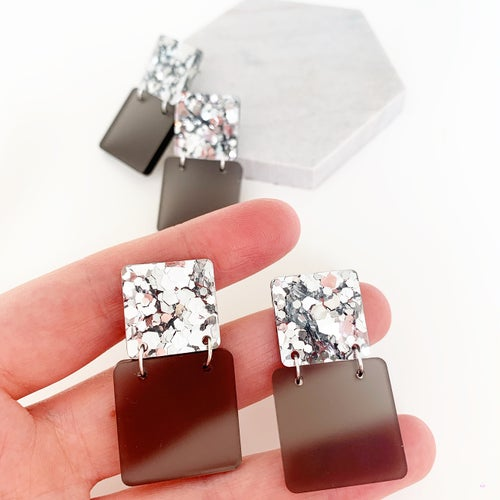 Image of *Monochrome Glam* Hip to be Square Dangles