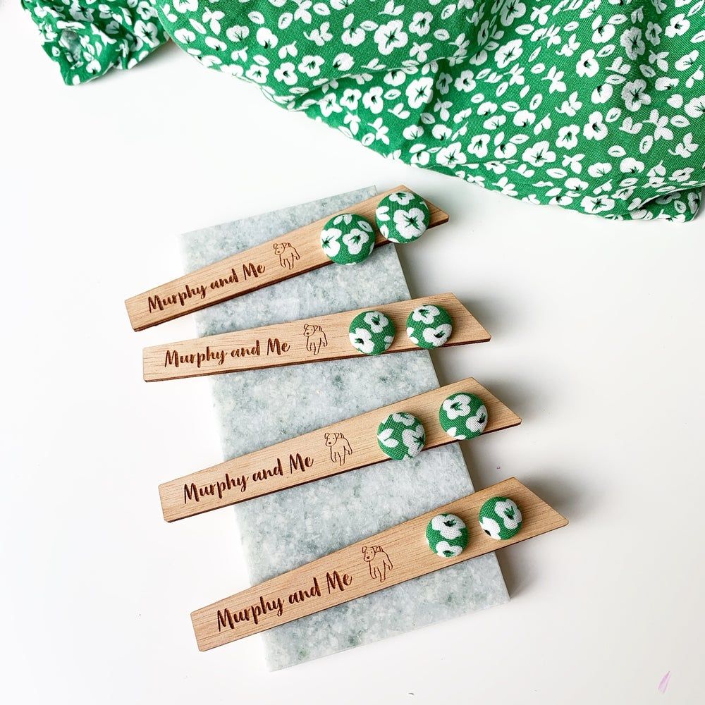 Image of Green Floral Fabric Studs