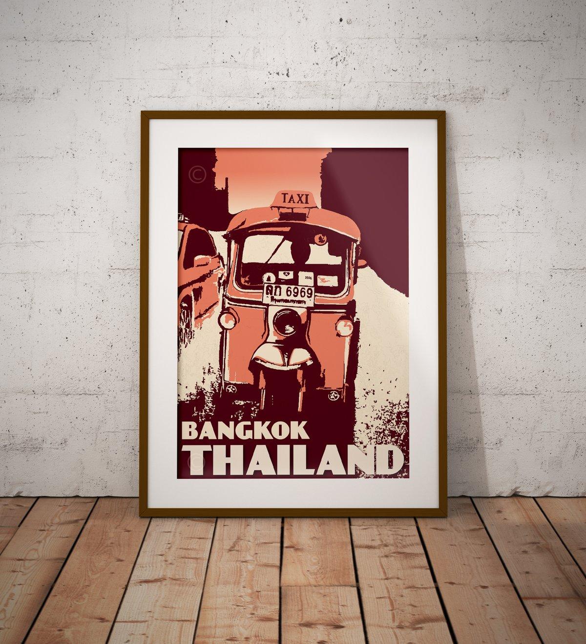 Image of Vintage poster Thailand - Bangkok - Tuktuk - Coral - Fine Art Print