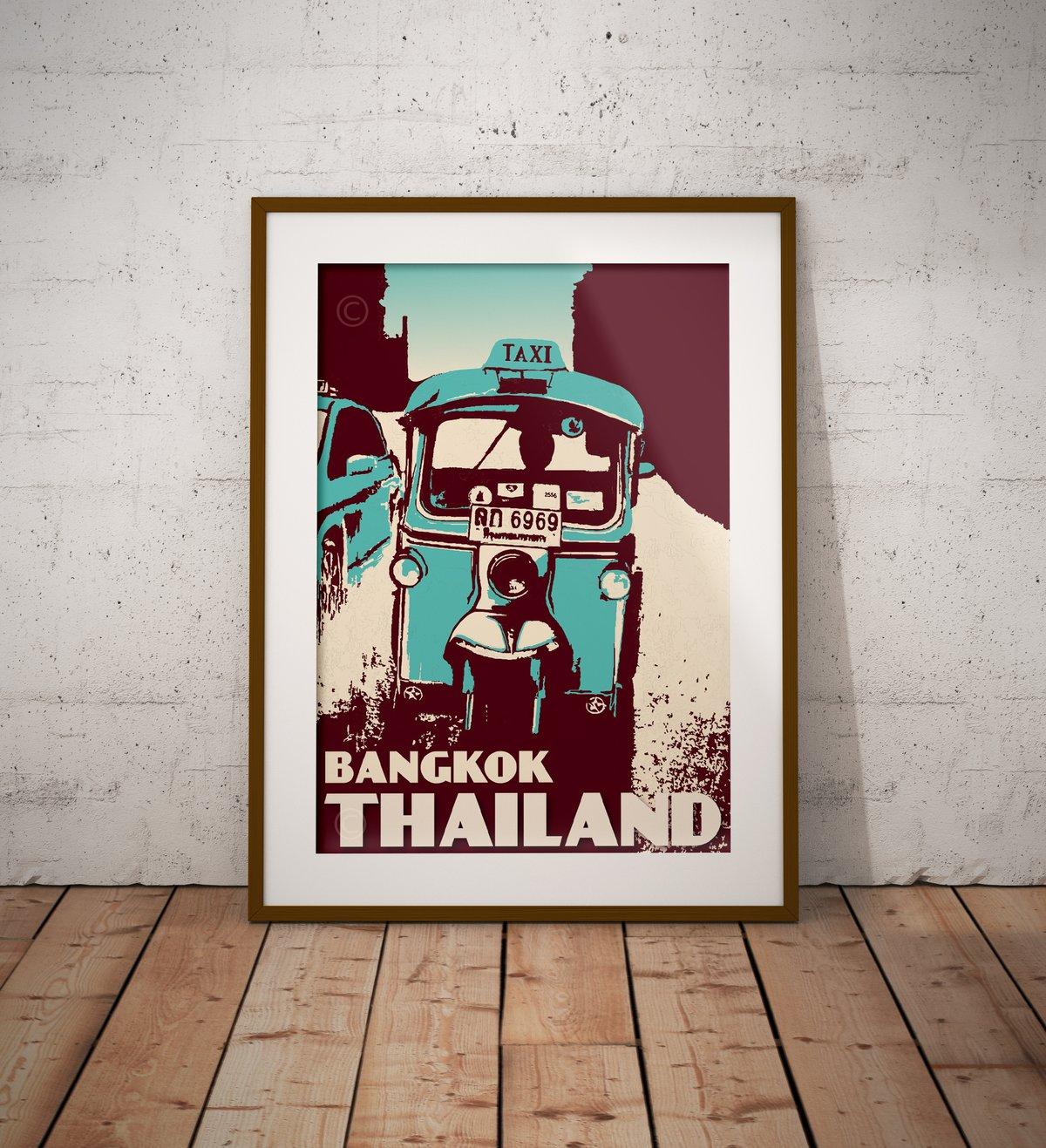 Image of Vintage poster Thailand - Bangkok - Tuktuk Turquoise - Fine Art Print