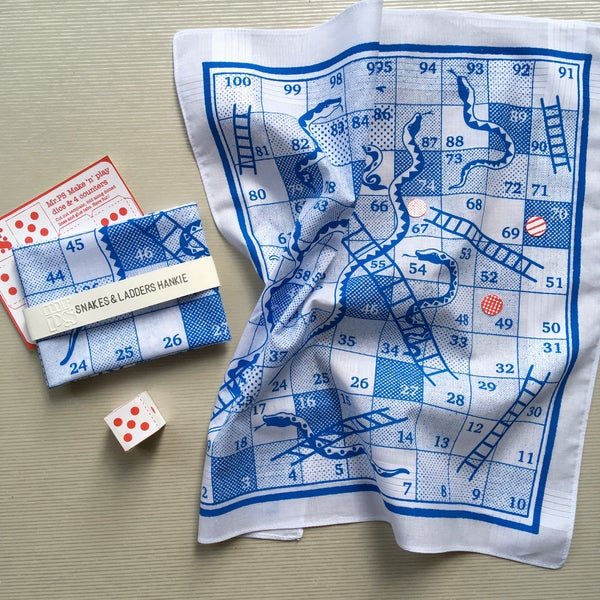 Image of Snakes & Ladders Boardgame Hankie