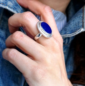 Image of Bague Lapis Lazuli - taille 57 -