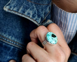 Image of Bague turquoise du Tibet naturelle - taille 56,5 -