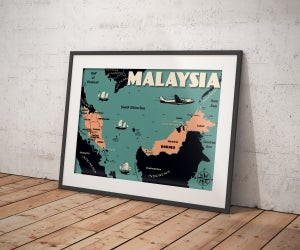 Image of Vintage poster Malaysia Map - Fine Art Print