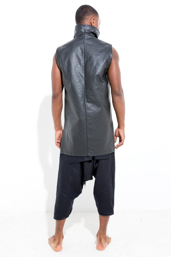 LEATHER FUNNEL VEST