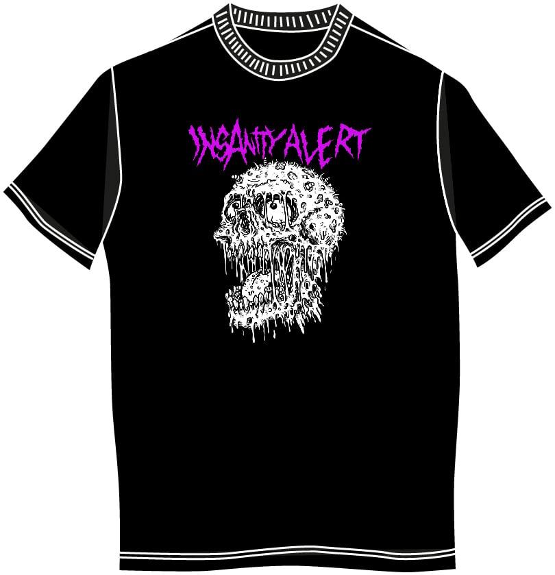 Image of NEW! Insanity Alert - Maggot Skull T-Shirt