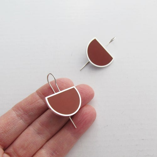 Image of Minimalist Silver Earrings in Autumn Foliage