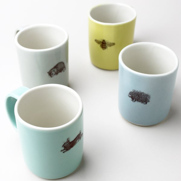 Image of set of four 10oz mugs, garden friends