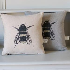 Image of Hand screen printed bee cushion, natural