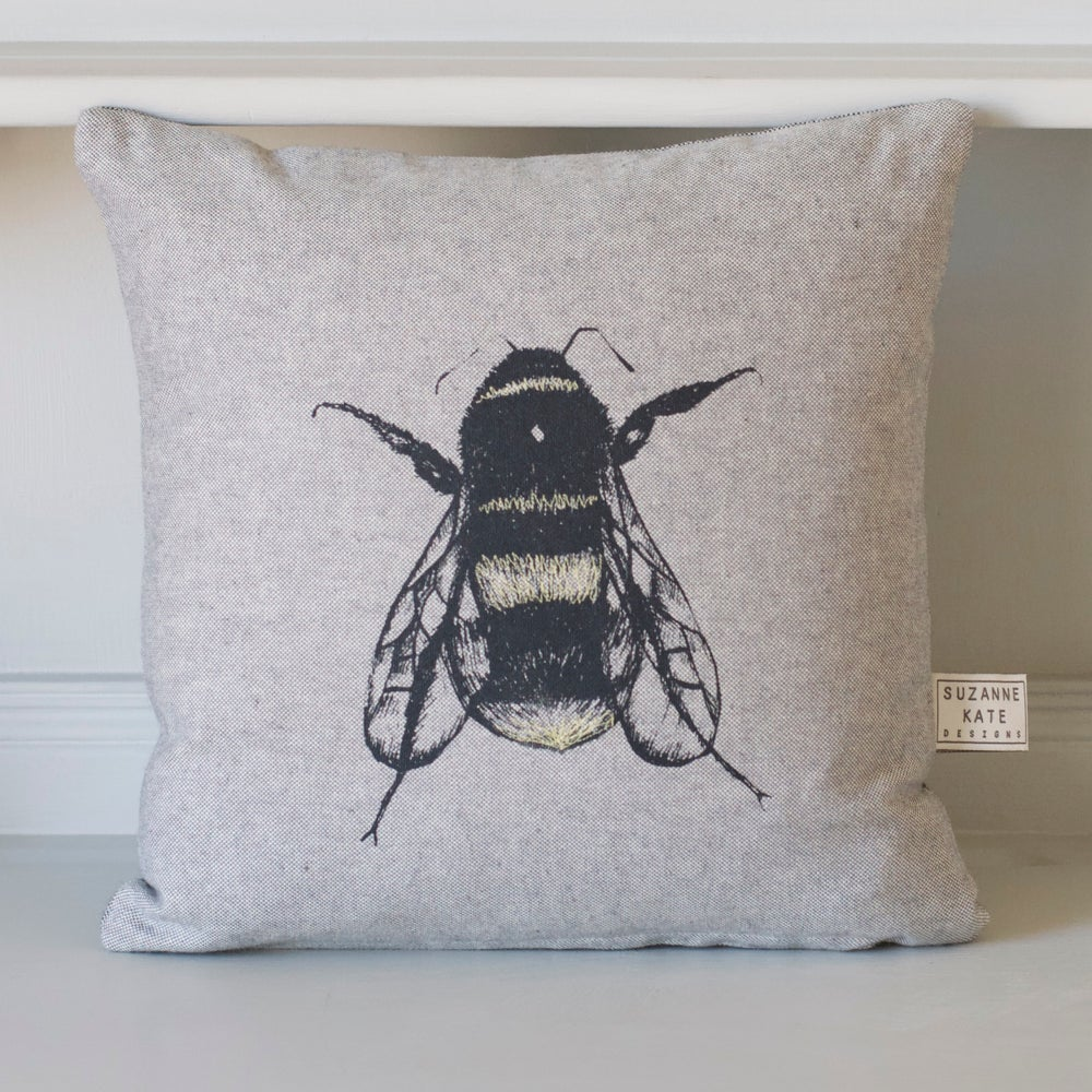 Image of Hand screen printed bee cushion, grey