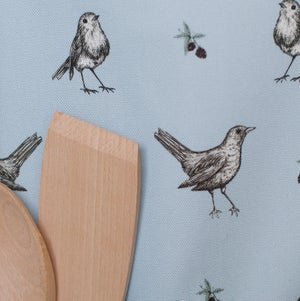 Image of Berry thieves apron in blue