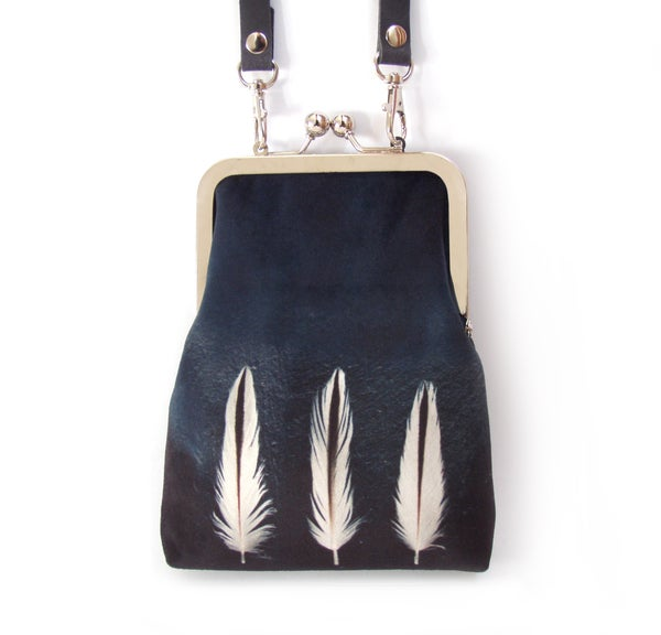 Image of White feathers, slim velvet shoulder bag with leather strap