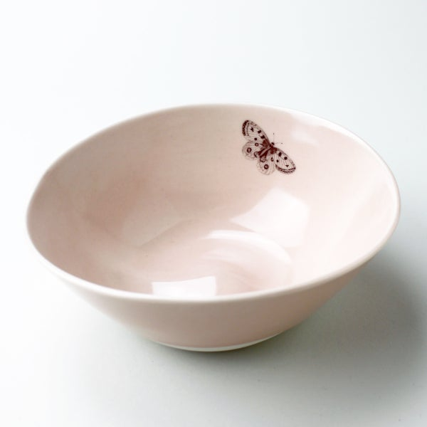 Image of organic serving bowl with butterfly, rose