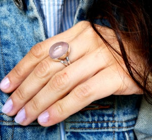 Image of Bague quartz rose - taille 57 -