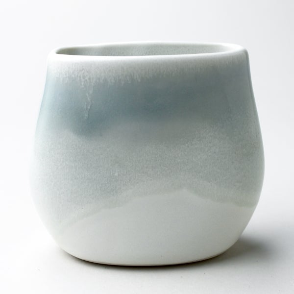 Image of beachstone vase, celadon watercolor