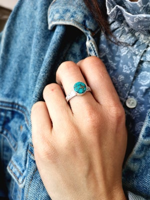 Image of Bague turquoise du Tibet - taille 58,5 -