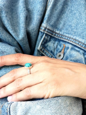 Image of Bague turquoise naturelle du tibet - taille 58 -