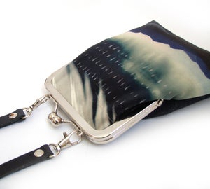Image of Storm feather slim velvet crossbody kisslock bag with leather strap