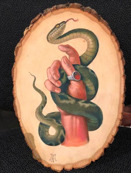 "Image of ""Hand with a Snake"" Original Oil Painting"