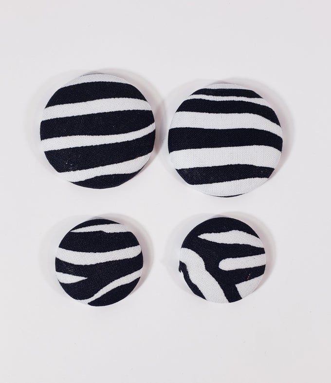 Image of Zebra Stripe Button Earrings