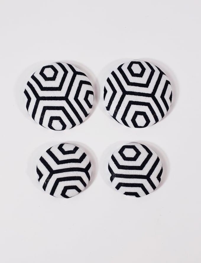 Image of Black Web Button Earrings