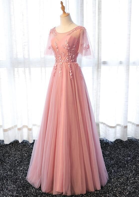 Lovely A-line Pink Tulle Long Party Dress, Bridesmaid Dress
