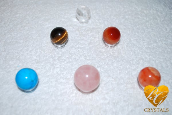 Image of Crystal Sphere's | With Stands | Rose Quartz | Turquoise | Tiger's Eye | Quartz | Carnelian