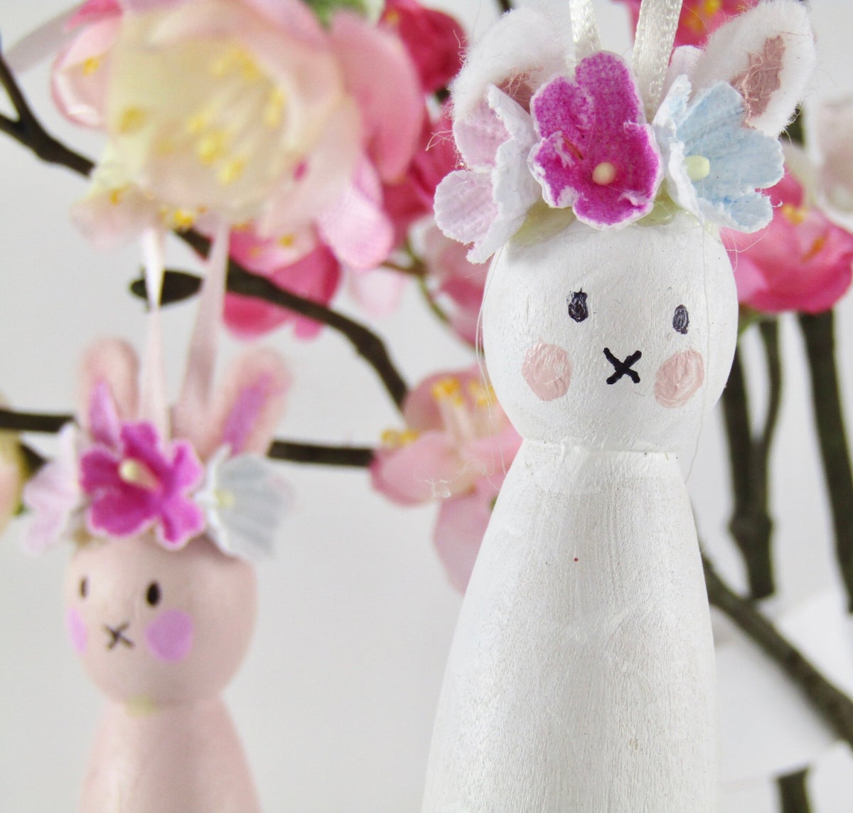 Image of Painted Wooden Peg Bunnies