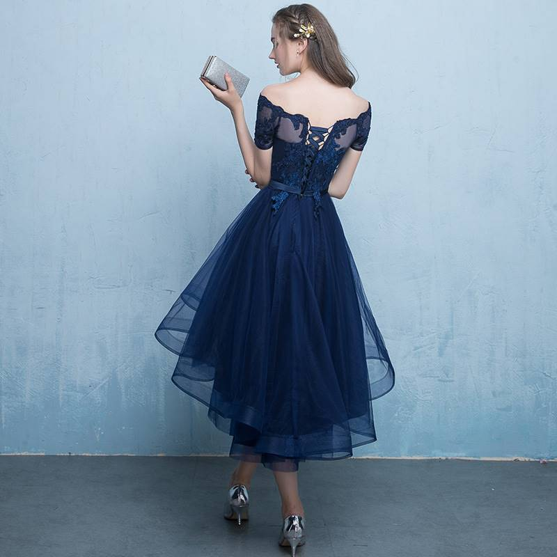 Cute A-line Short High Low Party Dress, Blue Homecoming Dress