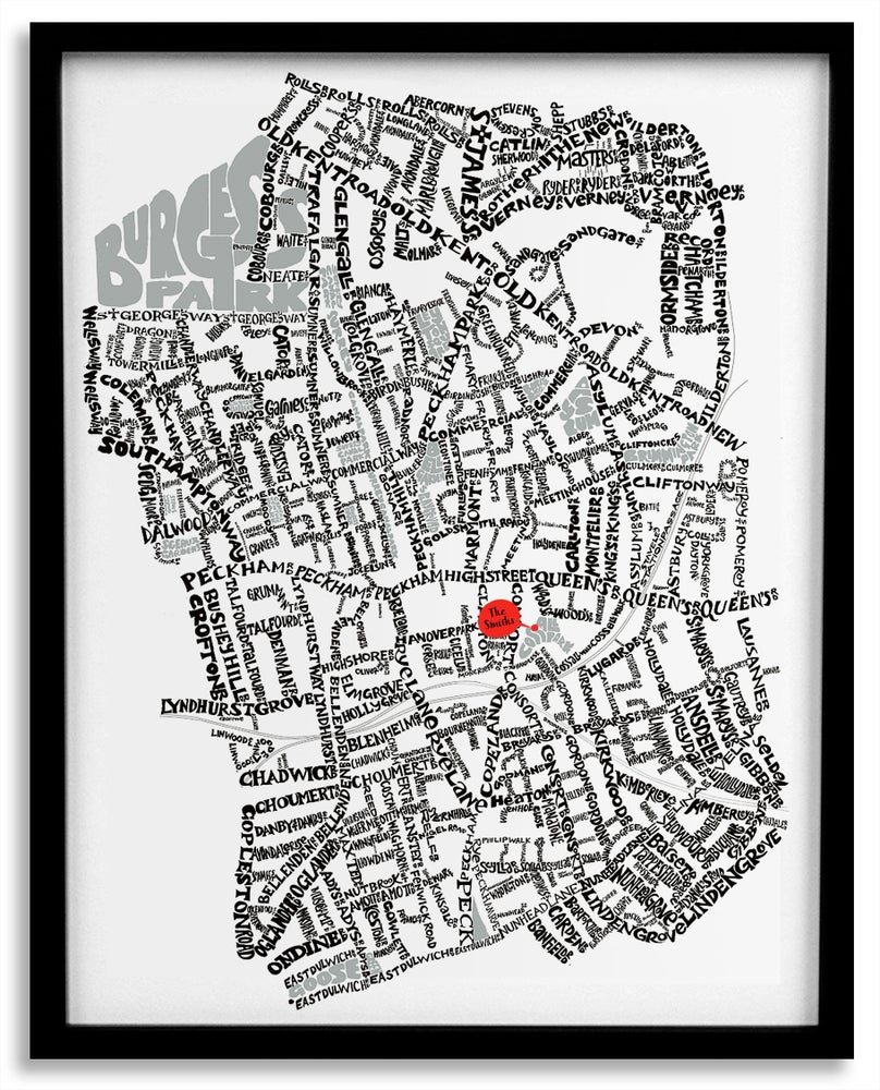 Image of Peckham SE15 - SE London Type Map - White
