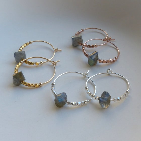 Image of Precious Metals And Labradorite Hoops