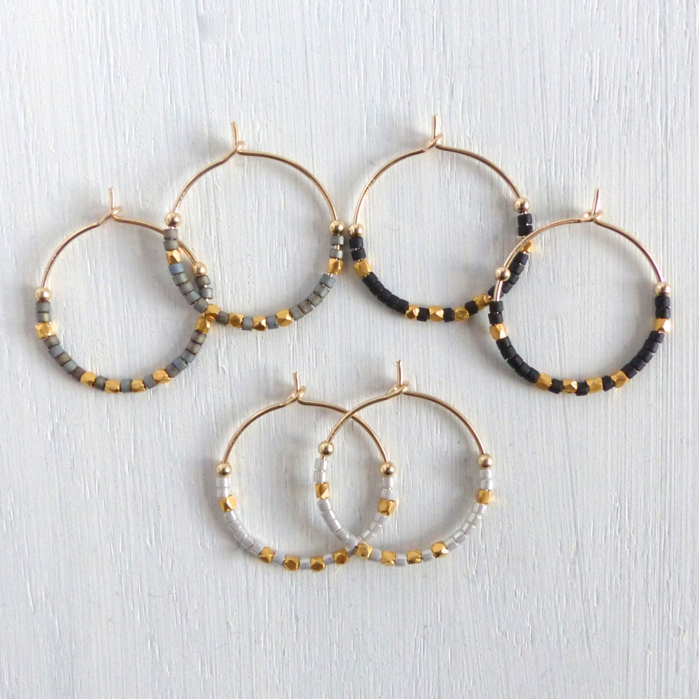 Image of Evening Delica And Fair Trade Bead Hoops 20mm