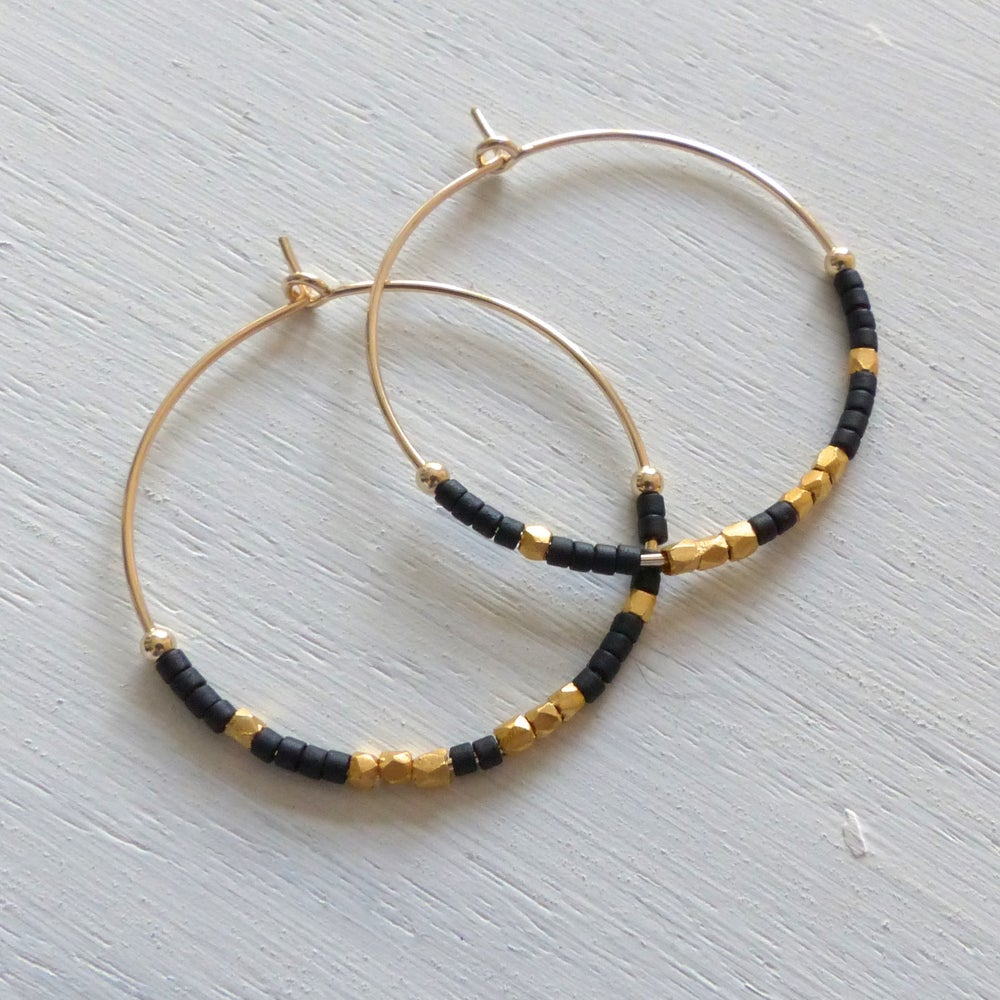 Image of Evening Delica And Fair Trade Bead Hoops 30mm