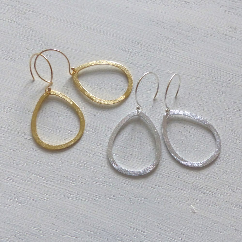 Image of Brushed Drop 35mm Earrings In Gold or Silver